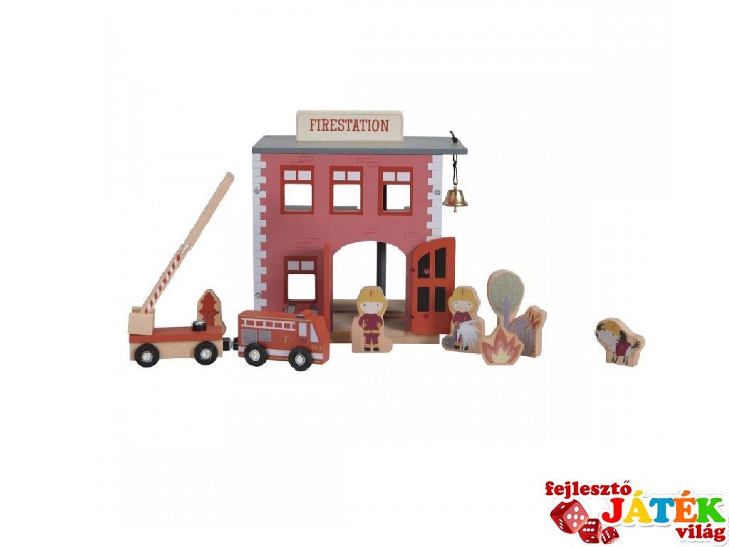 Tűzoltóállomás, 12 db-os fa vasútkiegészítő Little Dutch szerepjáték (4490, 3-7 év)