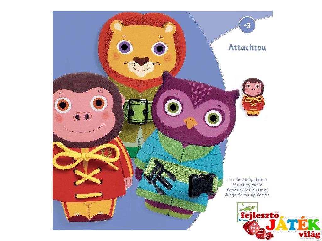 Ügyesítő játék, Attachtou Csattogató, Djeco fa készségfejlesztő játék - 1666 (3-6 év)