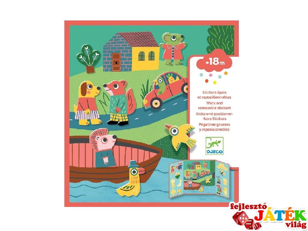 Újraragasztható matricás könyv Állatok, Djeco kreatív játék - 9071 (18 hó-4 év)