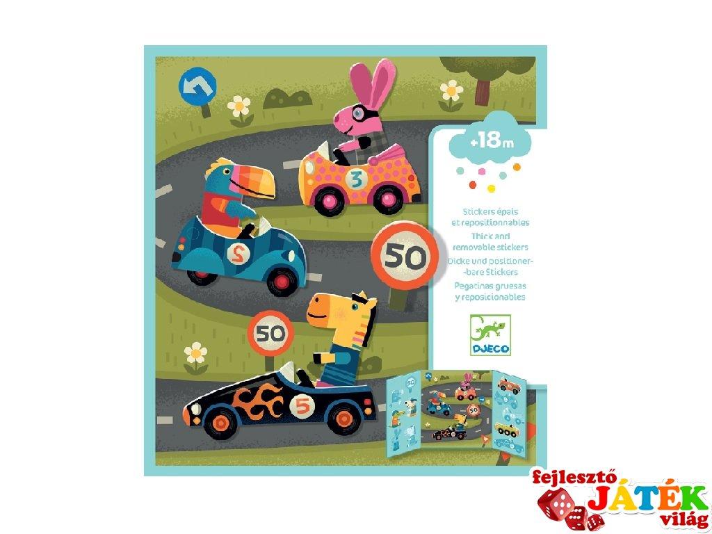 Újraragasztható matricás könyv Autók, Djeco kreatív játék - 9073 (18 hó-4 év)