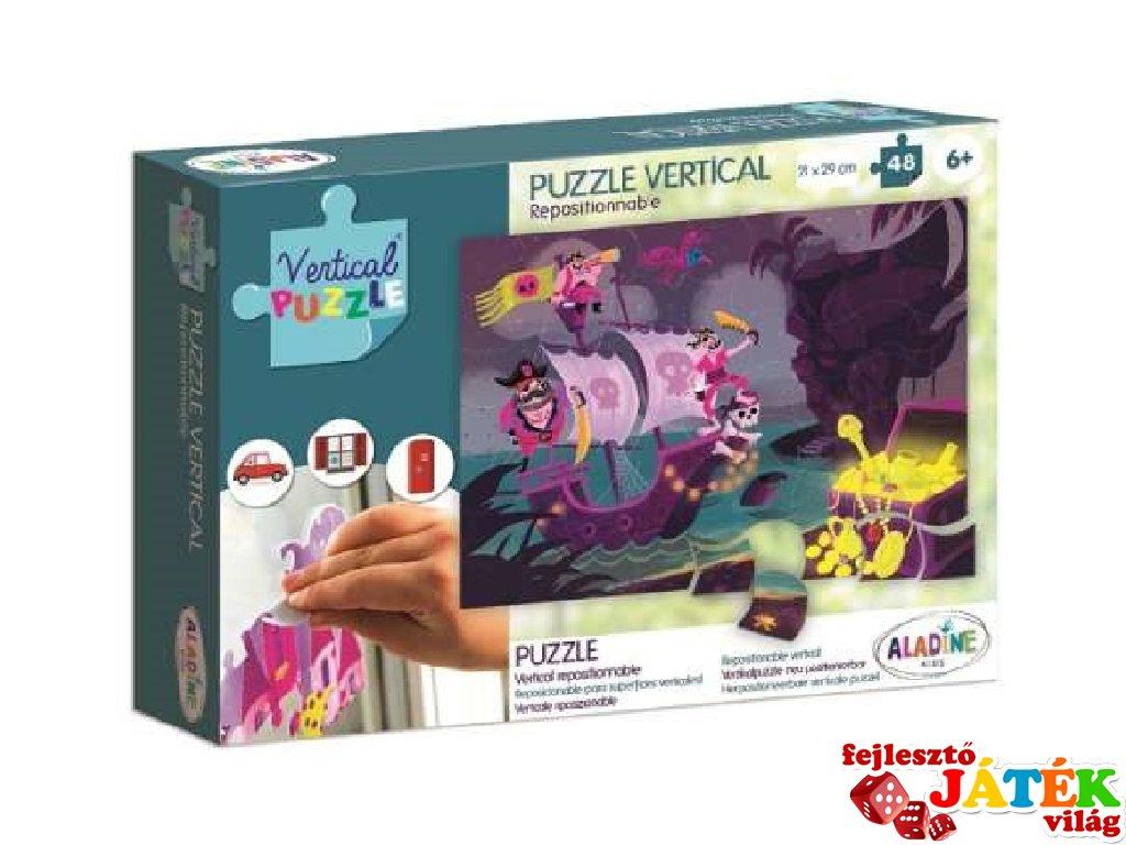 Újrarakható, ablakon használható, 48 db-os puzzle - Kalóz (AL, 6-8 év)