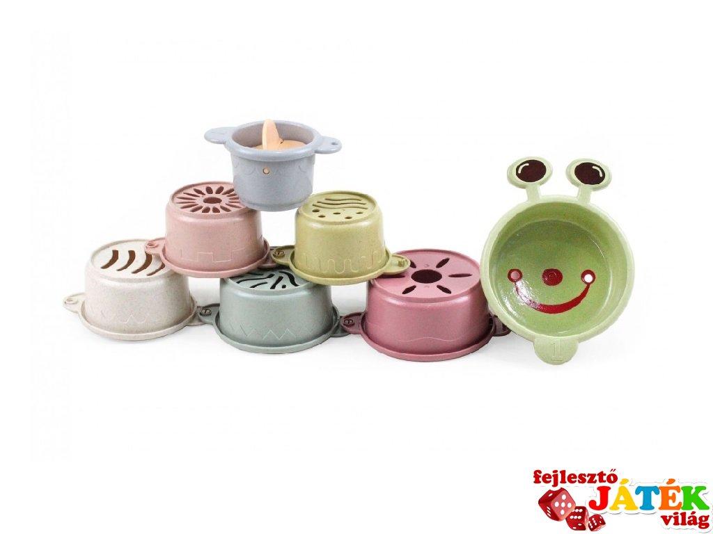 Vicces csészék, 7 db-os Öko fürdőjáték, építőjáték babáknak (Magni, 6 hó-4 év)
