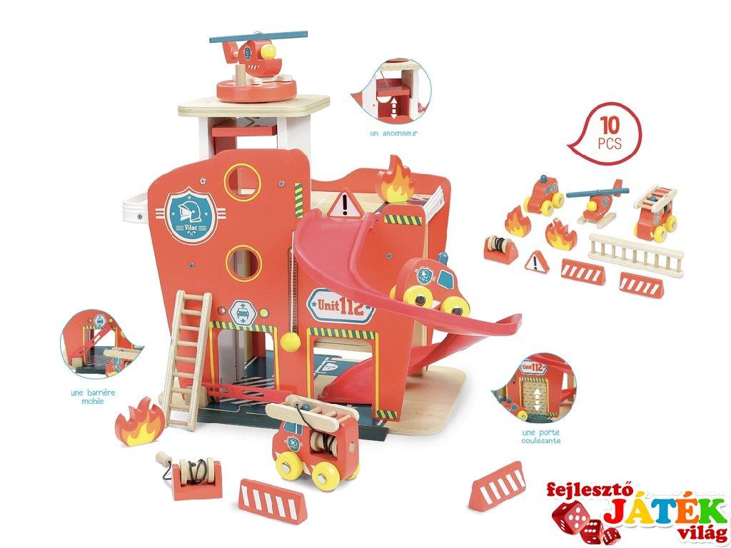 Vilacity tűzoltó állomás, 10 db-os fa szerepjáték (VL, 3-7 év)