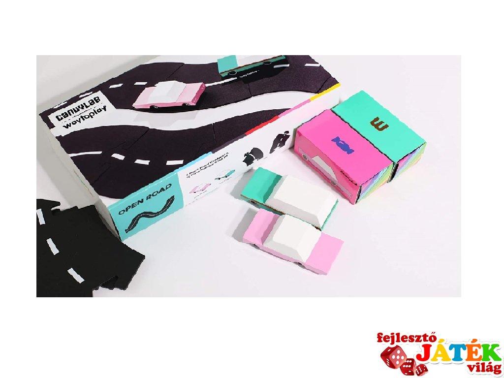 Waytoplay rugalmas autópálya matchbox és más kisautóhoz, 12 db-os építőjáték 2 db autóval, Candylab Open Road