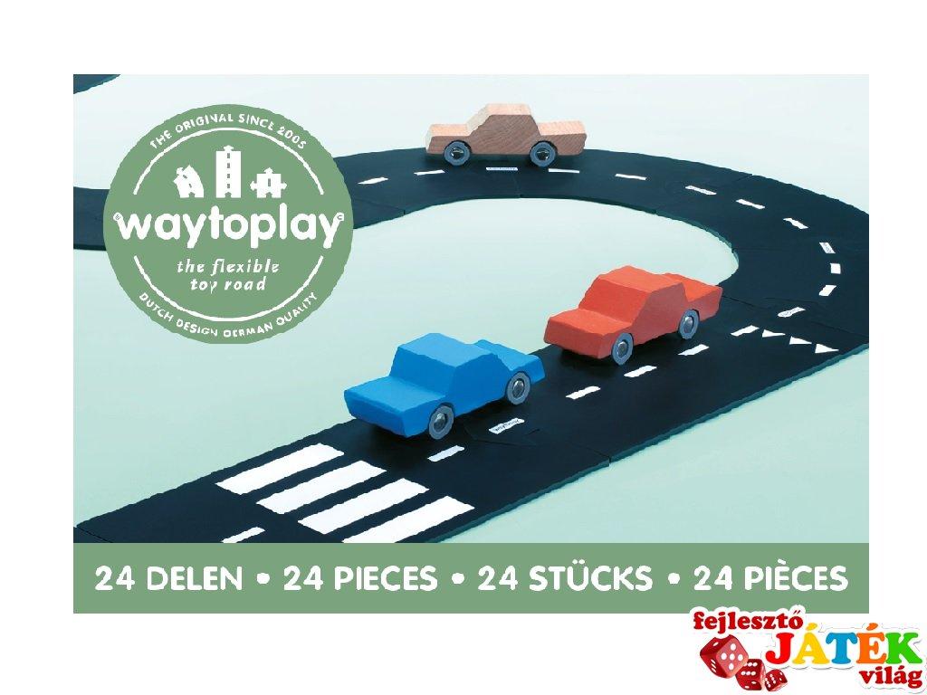 Waytoplay rugalmas autópálya matchbox és más kisautóhoz, 24 db-os építőjáték, Highway