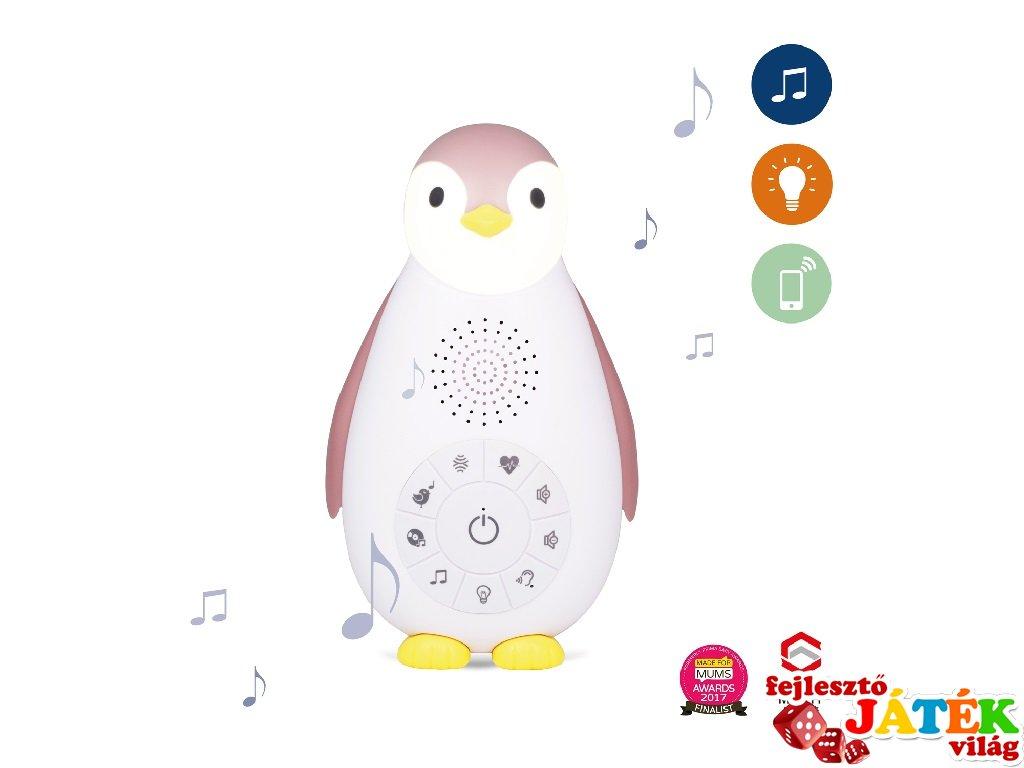 Zoe pingvin music box és éjjeli fény rózsaszín, gyerekszoba kiegészítő (ZA, bluetoothos)